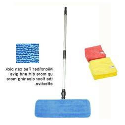 "18"" Professional Microfiber Mop Pads+ Stainless Steel Handle"