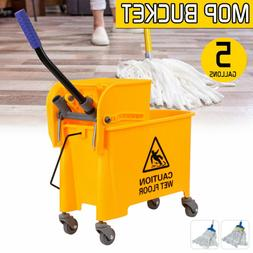 5 Gallons Commercial Wet Mop Bucket & Wringer Combo Side Pre