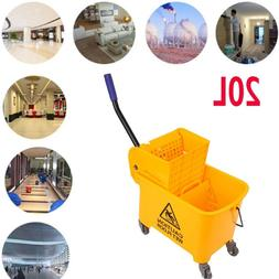 Commercial 20L Wet Mop Bucket & Wringer Combo Yellow