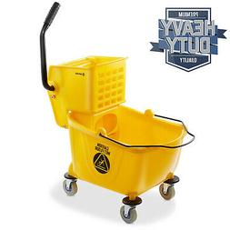 26 Quart Commercial Mop Bucket with Side Press Wringer, Yell