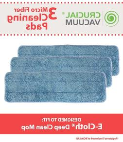 3 Replacements Washable Damp Mop Pads Fit e-cloth Mops Part