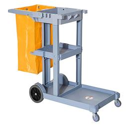 HomCom 3 Shelf Commercial Cleaning Rolling Janitor Cart with