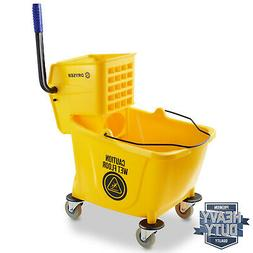 33 Quart Commercial Mop Bucket with Side Press Wringer, Yell