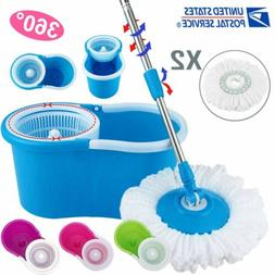 360° Easy Clean Floor Mop Bucket 2 Heads Microfiber Spin Ro