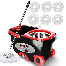 Tsmine 360 Spin Mop with Stainless Steel Bucket System, Delu