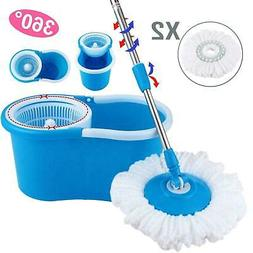 360°Rotating Head Easy Magic Floor Mop Bucket 2x Head Micro