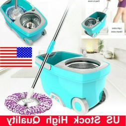 360°Spin Mop Stainless Steel Bucket Set w/ Rotating Magic F