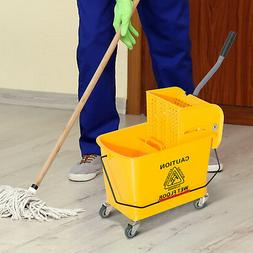 5 Gallon Mini Press Mop Bucket with Wringer 20 Quart Rolling