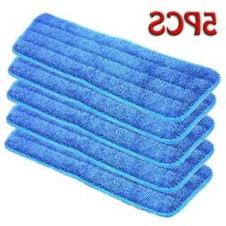 5Pcs Blue Microfiber Mop Pads Head Wet Dry Mops Refill For 1