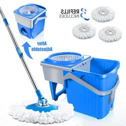 7L Spin Mop and Telescopic Bucket with 3 Microfiber Heads Ha