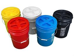 Bucket Kit, Five Colored 5 Gallon Buckets with Matching Gamm