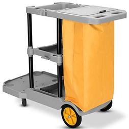 Goplus Commercial Janitorial Cart Heavy Duty Cleaning Utilit