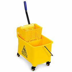 Commercial Mop Bucket Side Press Wringer on Wheels 21 Quart