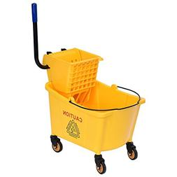 Goplus Commercial Mop Bucket w/ 35 Quart Larger Capacity, Si