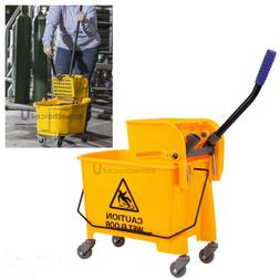20L Commercial Wet Mop Bucket Wringer Combo Side Press Yello