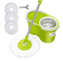 HomeHelper Microfiber Spin Mop,Bucket Floor Cleaning System-