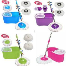 Easy Magic Floor Mop 360 Bucket 2 Heads Microfiber Spinning