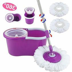 Easy Magic Floor Mop 360°Bucket 2 Heads Microfiber Rotating