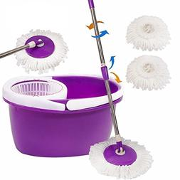Easy Magic Floor Mop 360° Bucket 2 Heads Microfiber Spin Sp