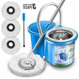 Aootek Easy Wring Microfiber Spin Mop And Bucket Floor Clean