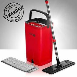 Flat Mop Bucket with Wringer for Home Kitchen Floor Cleaning