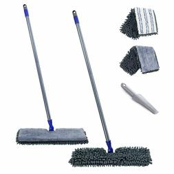 "Flat Mop with 2 Mop Pads Double Sided 16.8"" Dust Mops Hardwo"