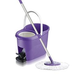 White Magic Foot Press 360 Spin Mop Bucket System + Microfib