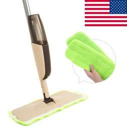 Hot Spray Mop with Two Reusable Super Soft Microfiber Pads f