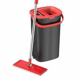 TETHYS Flat Floor Mop and Bucket Set for Professional Home F