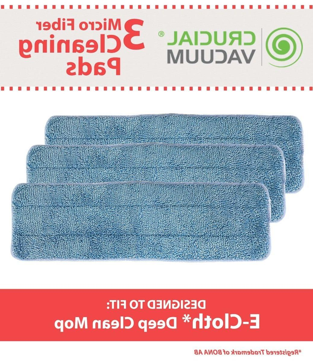 3 replacements washable damp mop pads fit
