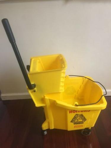 35 Quart Qt Wavebrake Yellow Mop Bucket Wringer Combo Rubber
