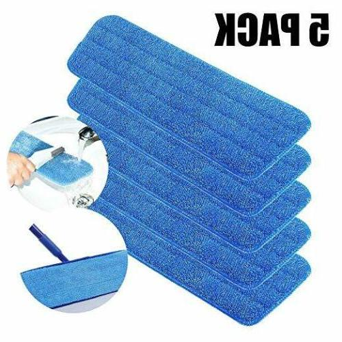 5 Pack Pads Head Wet Dry Mops Flat Blue