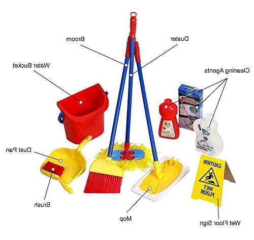 Click Piece Pretend Cleaning Set, Water Bucket, Cleaning Agent Bottles, Mop, Floor Sign, Brush and
