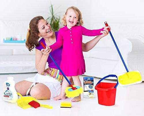 Click Play Piece Cleaning Set, Water Bucket, Cleaning Agent Mop, Duster, Floor Sign, and