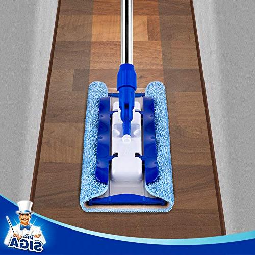 MR. Mop,Stainless Handle Pad 2 Free Cloth Refills 1 Removal Scrubber Included