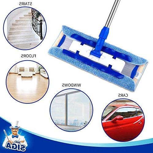 MR. SIGA Mop,Stainless Pad Size: 42cm x23cm, 2 Microfiber Refills and Dirt Removal Scrubber Included