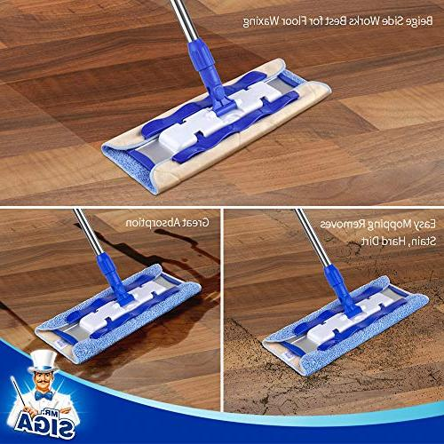 MR. Professional Mop,Stainless Handle Pad Size: 42cm x23cm, Refills and Removal Included