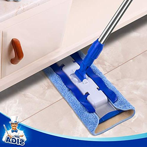 MR. Professional Microfiber Mop,Stainless Steel Pad Size: 42cm x23cm, 2 Free Microfiber Refills and Removal