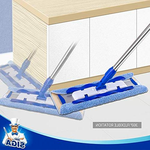 MR. Professional Mop,Stainless Pad 2 Free Microfiber Cloth Refills and Removal