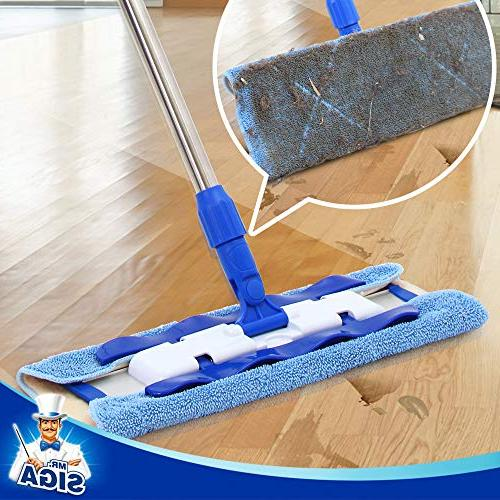 MR. SIGA Professional Mop,Stainless Steel Handle - Pad 2 Refills and 1 Removal