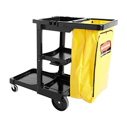 Rubbermaid Commercial Housekeeping 3-Shelf Cart with Zippere