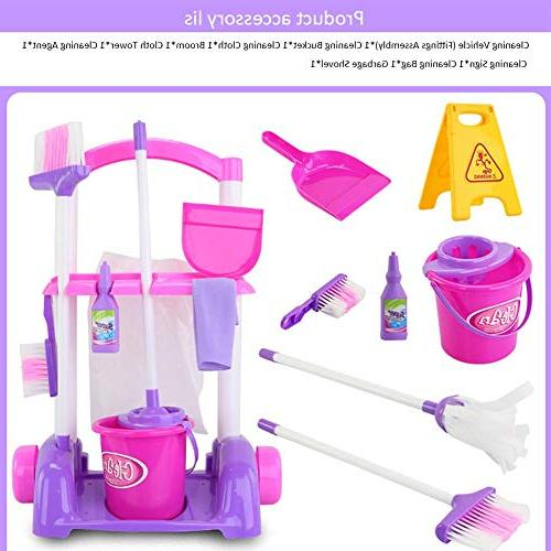Samber Kids Cleaning Playset Children Pretend Little Helper Appliances Cleaning Children with Trolley Cleaning