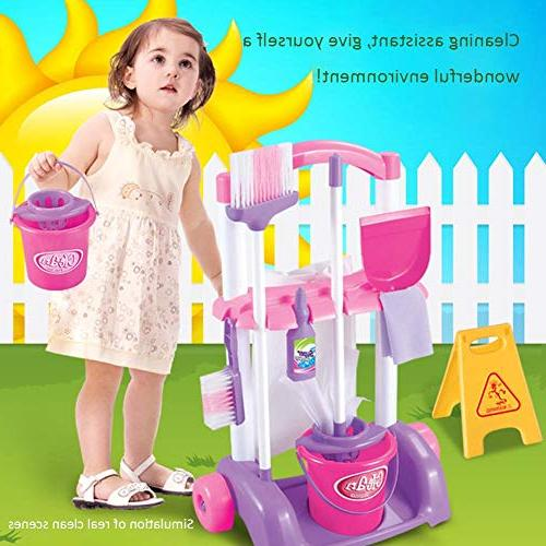 Samber Cleaning Playset Children Pretend Set Home Simulation Children Trolley Cleaning Accessories