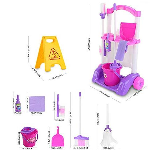Samber Playset Little Set Home Simulation Household Appliances Children with Trolley Cleaning