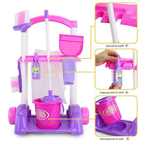 Samber Cleaning Trolley Playset Little Helper Cleaning Play Appliances Cleaning Toys Children with Trolley Accessories