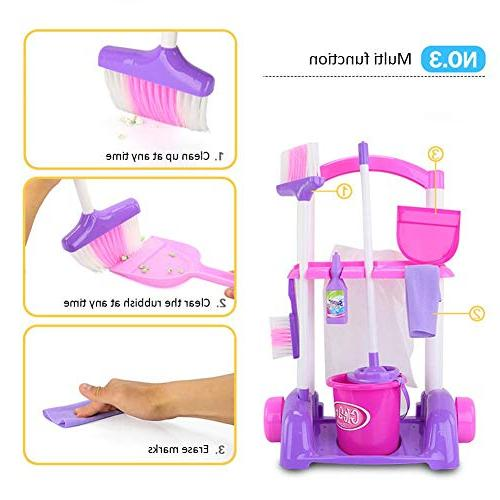 Samber Playset Children Pretend Little Helper Set Appliances Cleaning Children Trolley Cleaning