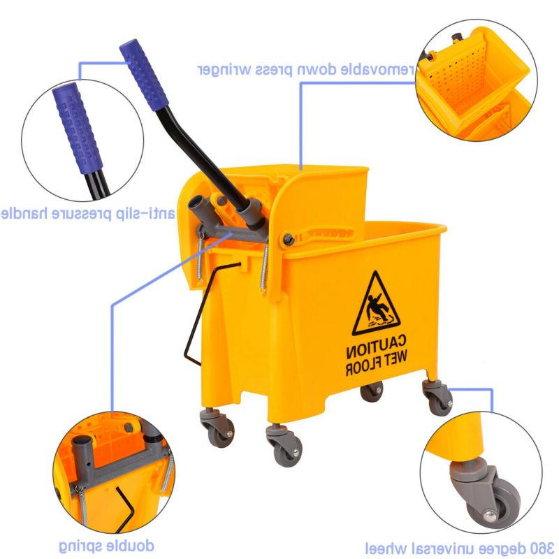 5 Gallon Commercial Mop Bucket w/ Side Press Wringer Combo R