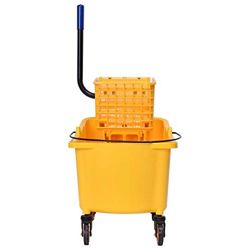 Goplus Commercial Mop w/ 35 Quart Capacity, Side Press Wringer Cleaning Caddy
