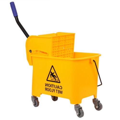 Commercial 5 Gallon Mini Press Mop Bucket with Wringer Rolli
