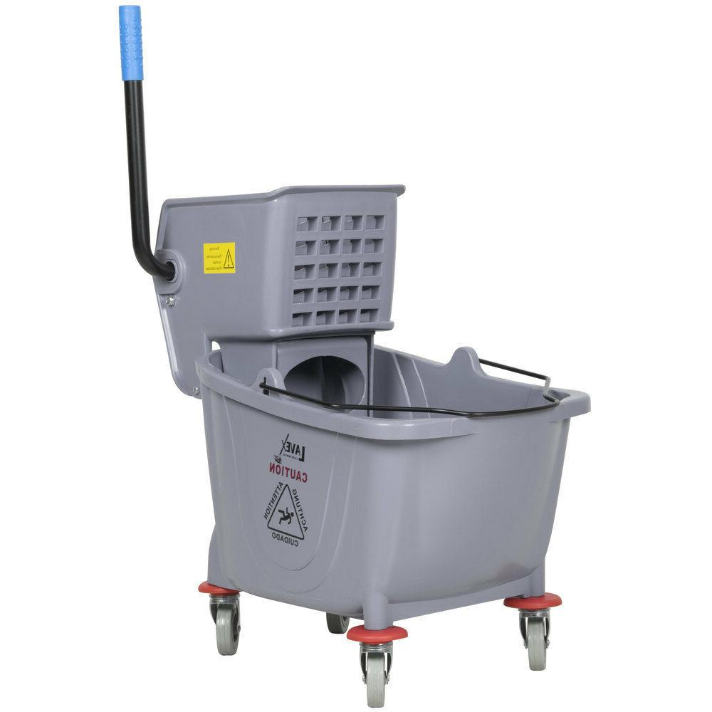 Commercial Wet Mop Bucket & Wringer Combo 36 Quart - Gray -
